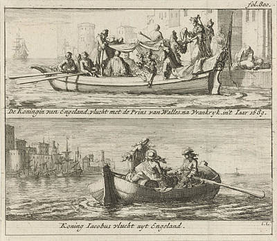 Flight Of The King And Queen To France, 1688 Poster by Jan Luyken And Jurriaen Van Poolsum