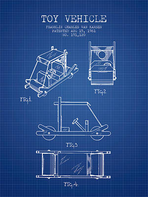 Flintstones Toy Vehicle Patent From 1961 - Blueprint Poster by Aged Pixel