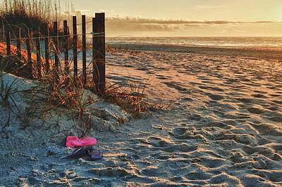 Flip Flops By Fence With Sunrise Poster by Michael Thomas