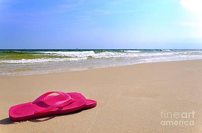 Flip Flops On Beach Poster
