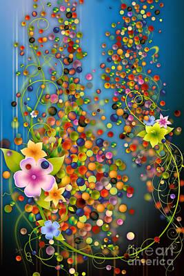 Floating Fragrances - Blue Version Poster by Bedros Awak