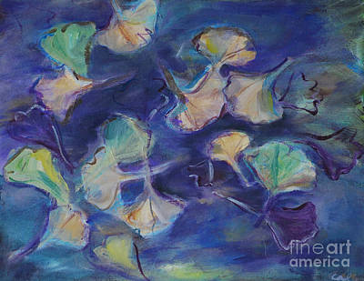 Poster featuring the painting Floating Gingko Leaves by Cynthia Lagoudakis