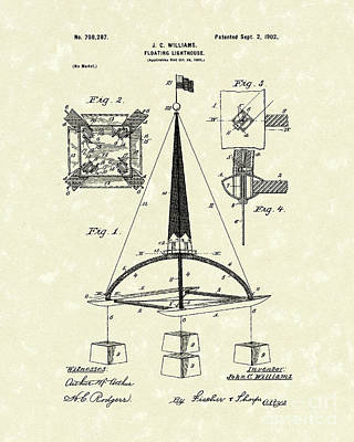 Floating Lighthouse 1902 Patent Art Poster by Prior Art Design