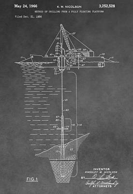 Floating Oil Platform Patent Poster by Dan Sproul