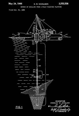 Floating Oil Rig Patent Poster by Dan Sproul