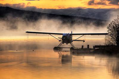 Floatplane Sitting On Beluga Lake Poster by Michael Criss