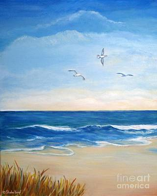 Flock Of Three - Three Birds On The Beach Poster by Shelia Kempf