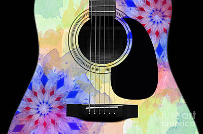 Floral Abstract Guitar 11 Poster by Andee Design