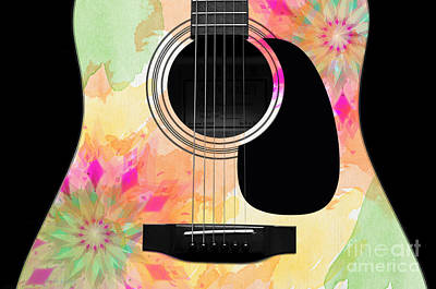 Floral Abstract Guitar 12 Poster by Andee Design