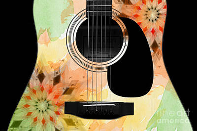Floral Abstract Guitar 13 Poster by Andee Design