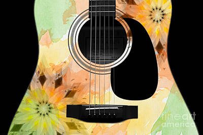 Floral Abstract Guitar 14 Poster by Andee Design