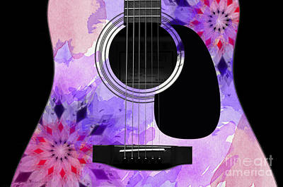 Floral Abstract Guitar 18 Poster by Andee Design