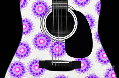 Floral Abstract Guitar 19 Poster by Andee Design