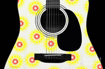 Floral Abstract Guitar 22 Poster by Andee Design