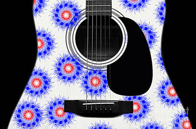Floral Abstract Guitar 23 Poster by Andee Design