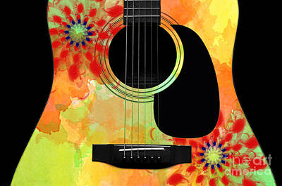 Floral Abstract Guitar 34 Poster by Andee Design