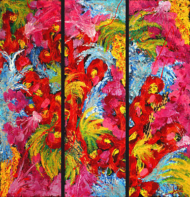 Floral Abstract Triptych On Black Background Poster