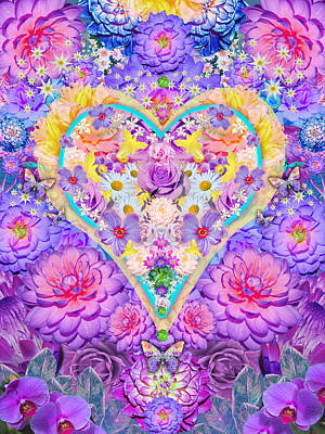 Floral Heart Springtime Poster by Alixandra Mullins