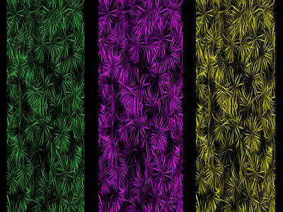 Floral Trio Panes Abstract Poster