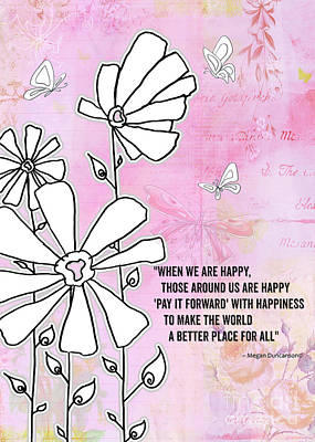 Floral Typography Word Art Quote Flowers And Butterflies By Megan Duncanson Poster by Megan Duncanson