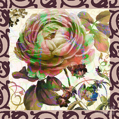 Floral With Ethnic Frame Border Mixed Art Poster by Art World