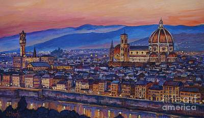 Florence At Night Poster by John Clark