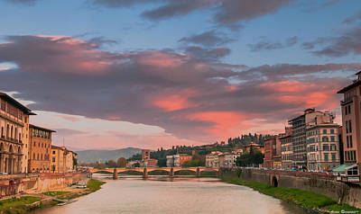 Poster featuring the photograph Florence Italy Sunset by Avian Resources