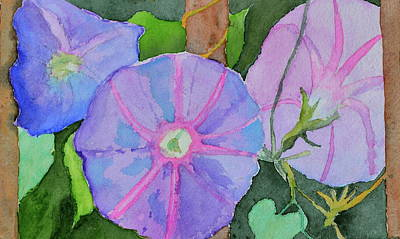 Poster featuring the painting Florence's Morning Glories by Beverley Harper Tinsley