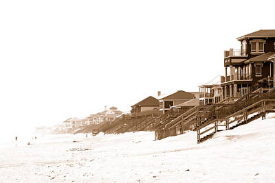 Poster featuring the photograph Florida Beach Sepia Print by Charles Beeler