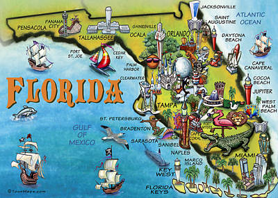 Poster featuring the digital art Florida Cartoon Map by Kevin Middleton