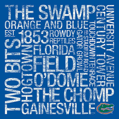 Florida College Colors Subway Art Poster