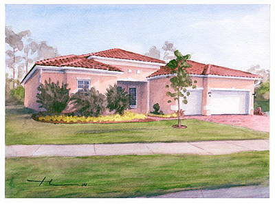 Florida House Watercolor Portrait Poster by Mike Theuer