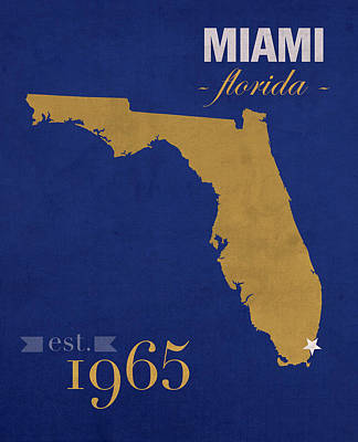Florida International University Panthers Miami College Town State Map Poster Series No 038 Poster by Design Turnpike