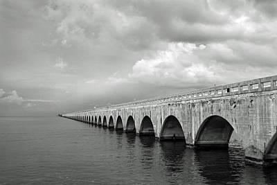 Florida Keys Seven Mile Bridge Black And White Poster