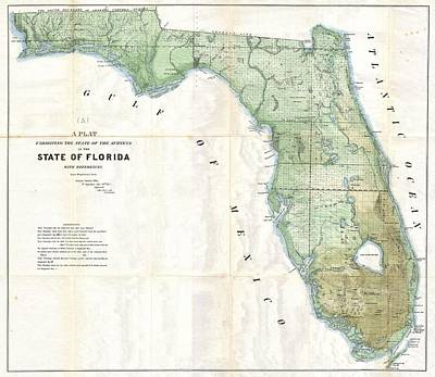Florida Land Platt Map 1853 Poster by Suzanne Powers