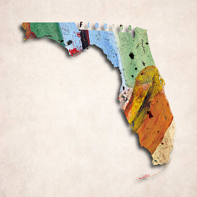 Florida Map Art - Painted Map Of Florida Poster by World Art Prints And Designs