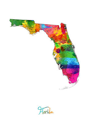 Florida Map Poster by Michael Tompsett