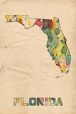 Florida Map Vintage Watercolor Poster by Florian Rodarte