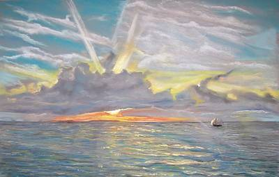 Poster featuring the pastel Florida Sunset by Peter Suhocke