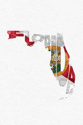 Florida Typographic Map Flag Poster by Ayse Deniz