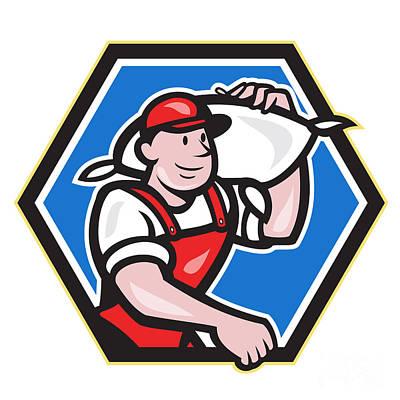 Flour Miller Carry Sack Hexagon Poster