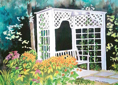 Flower Arbor With Bench - Mill Creek Park Poster by Laurie Anderson