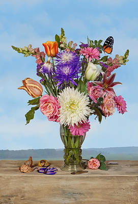 Poster featuring the photograph Flower Bouquet On A Ledge by Levin Rodriguez