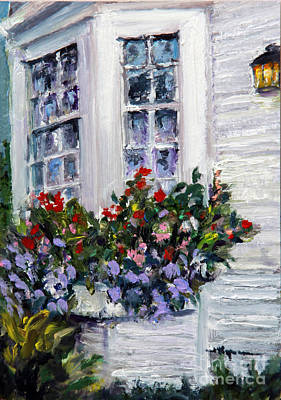 Flower Boxes At The Ocean Poster by Shelley Koopmann