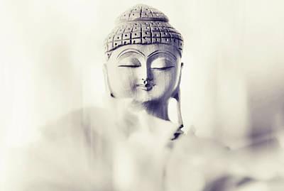 Flower Buddha. Monochrome Poster by Jenny Rainbow