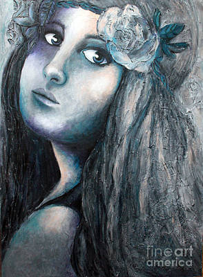 Girl With Flowers Poster by Home Art