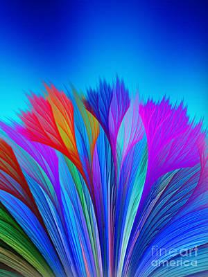 Flower Fantasy In Blue Poster