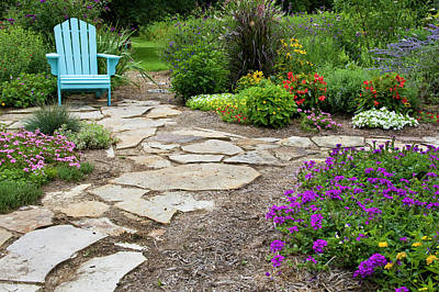 Flower Garden With Path And Blue Chair Poster