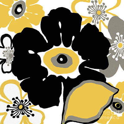 Flower In Black And Gold Poster