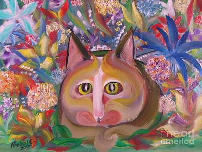 Flower Kitty Poster by Rachel Carmichael